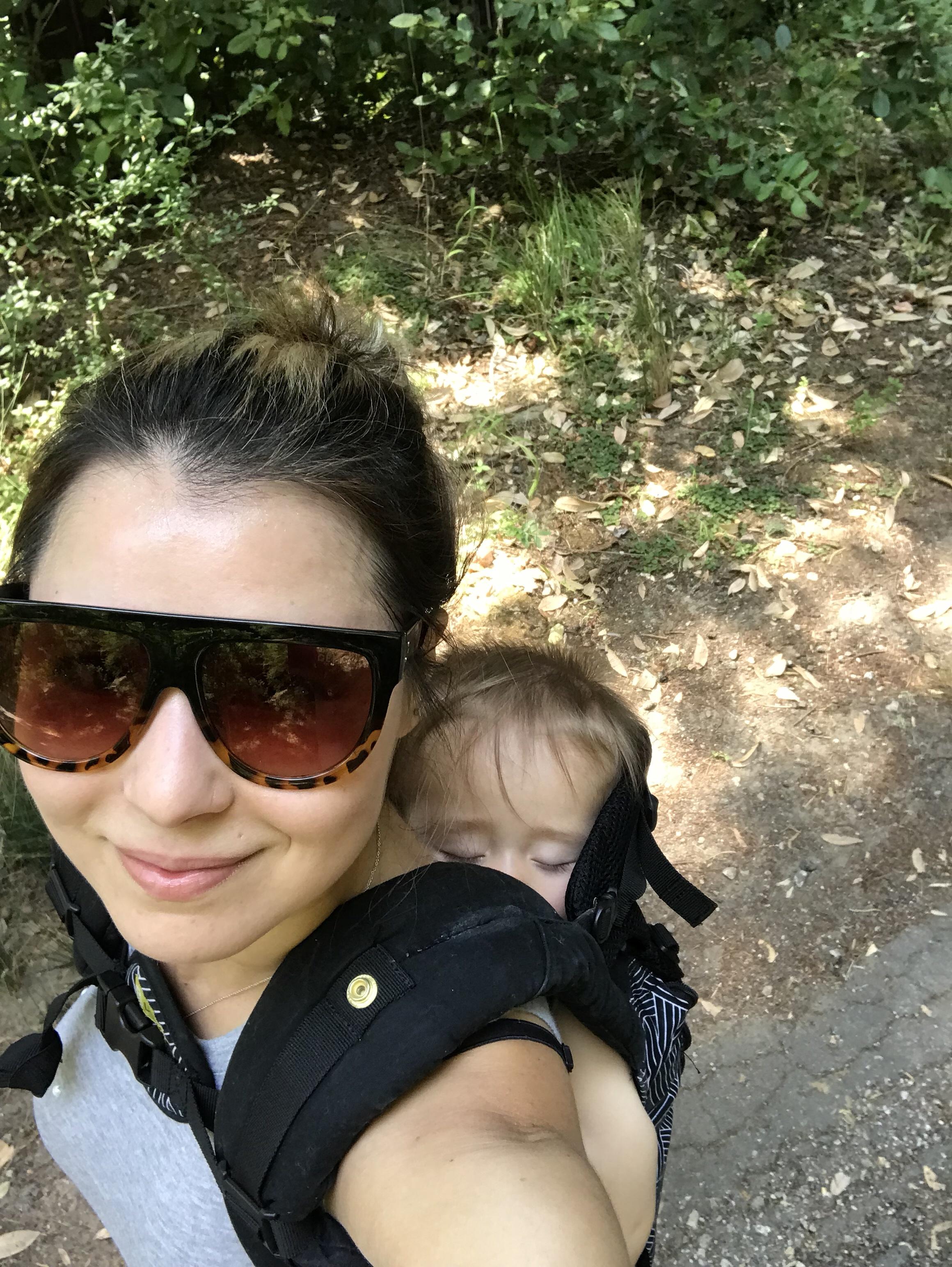 mom and son hiking at Big Basin